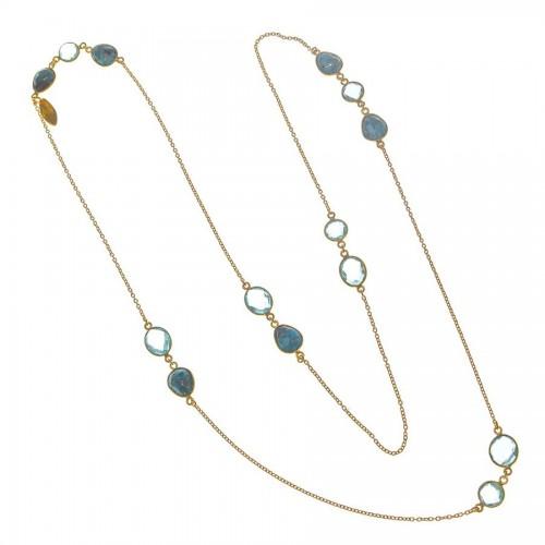 Collar Plata Dorado Azul Topacios Turquesas