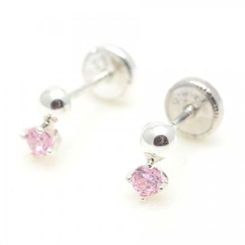 Pendientes Plata Bolita Cristal Rosa