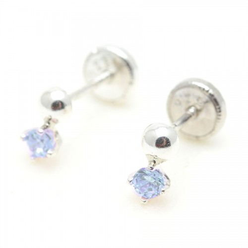Pendientes Plata Bolita Cristal Azul