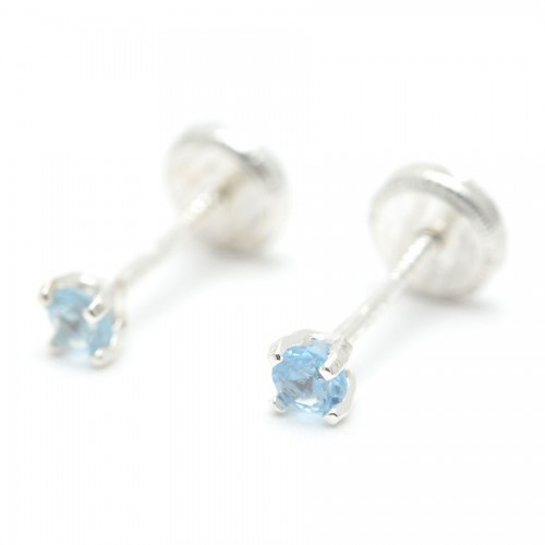 Pendientes Plata Cristal Azul