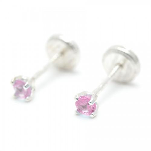 Pendientes Plata Cristal Rosa