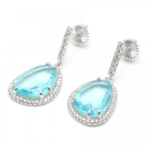 Pendientes Plata Cristales Azules