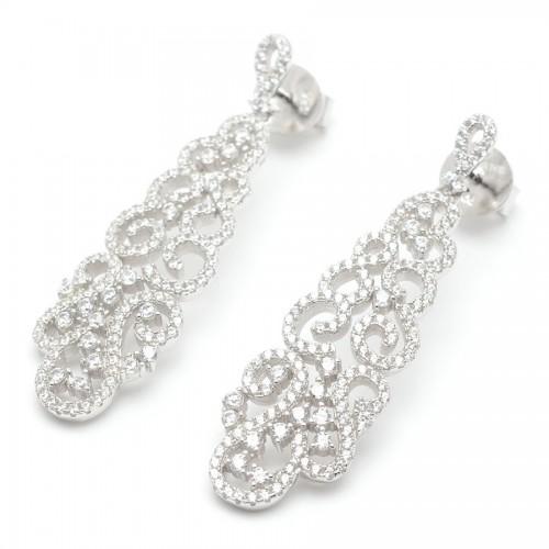 Pendientes Plata Largos Cristales Blancos