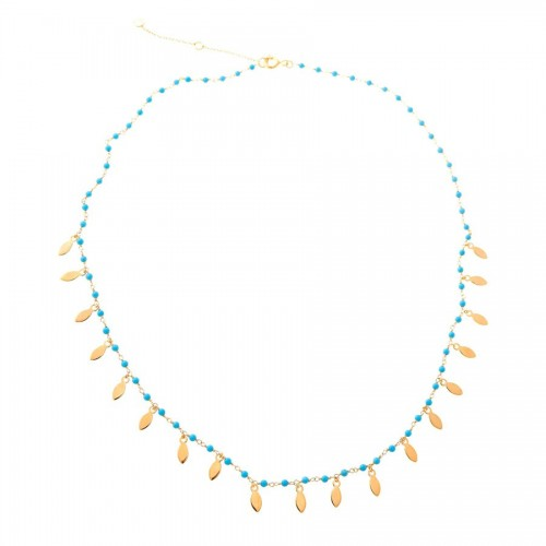 Collar Plata Dorado Azul Turquesas
