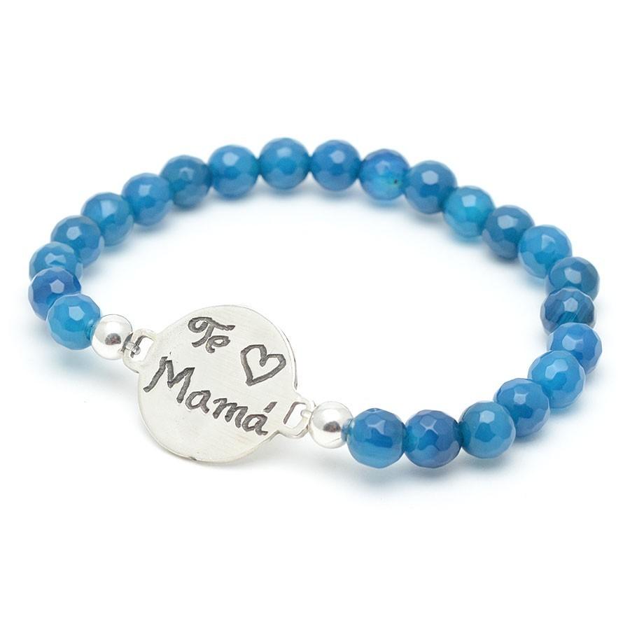 265b16b86982 Pulsera Plata Chica Medalla Madre Mama Bolas Azules