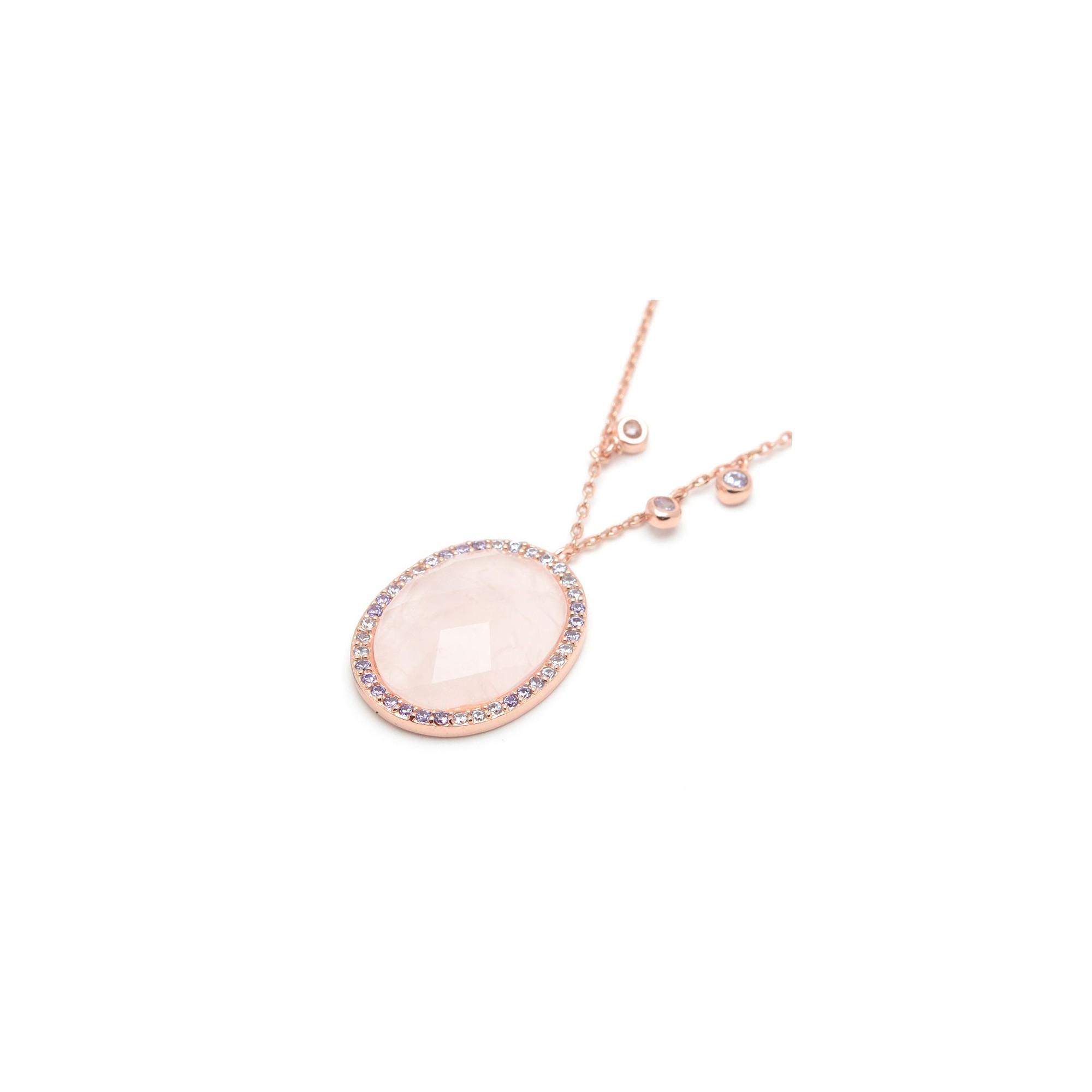 colgante plata chica dorado cuarzo rosa