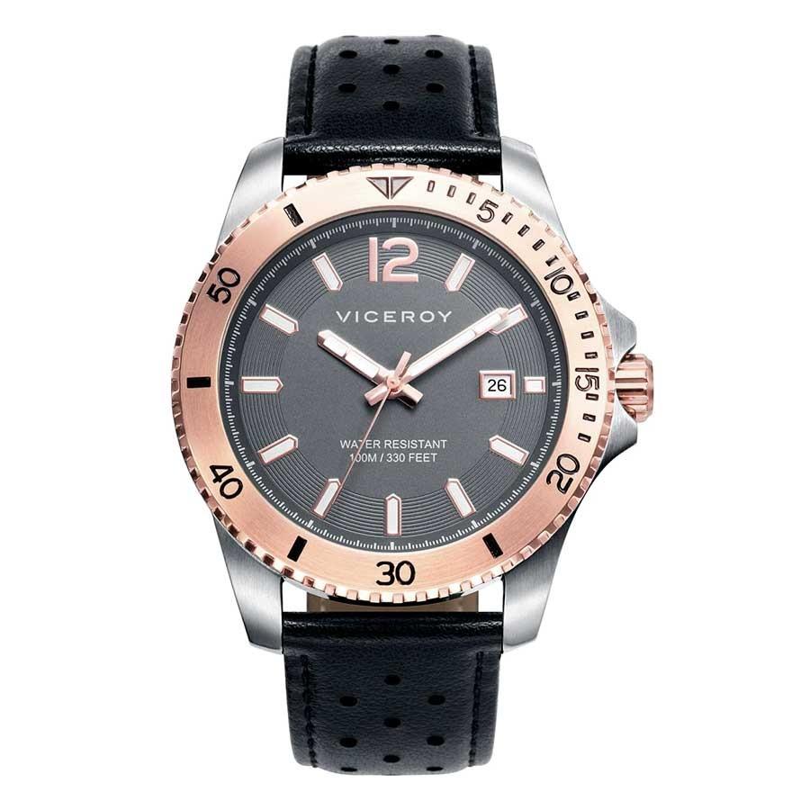 Reloj Chico Viceroy Dorado Sumergible Correa Negra 401005 57