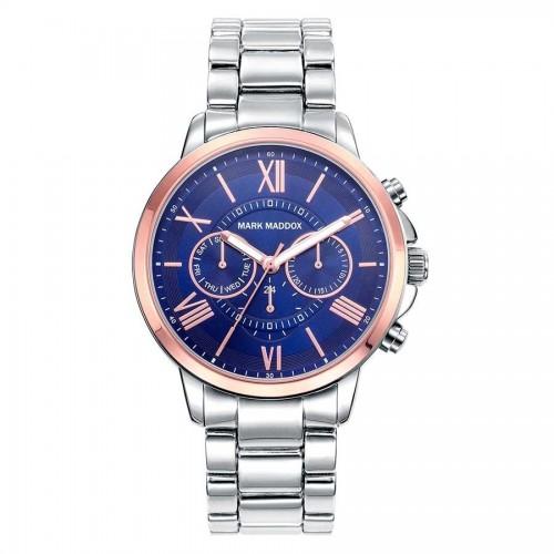Reloj Mark Maddox Azul Dorado Brazalete Plateado
