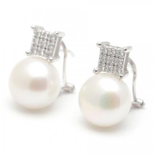 Pendientes Oro Blanco Perla Cuadrado Circonitas