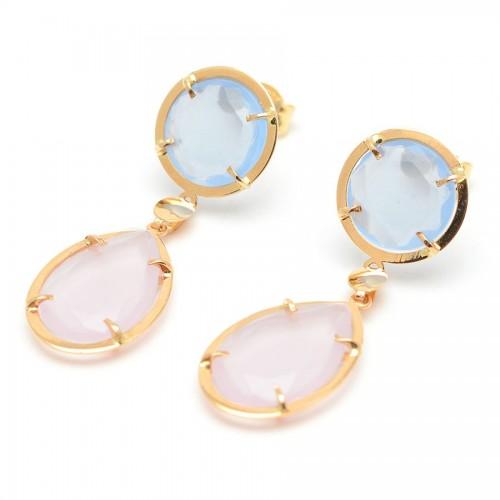 Pendientes Oro Cuarzo Azul Rosa