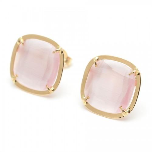 Pendientes Oro Cuadrados Cuarzo Rosa