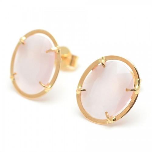 Pendientes Oro Ovalados Cuarzo Rosa