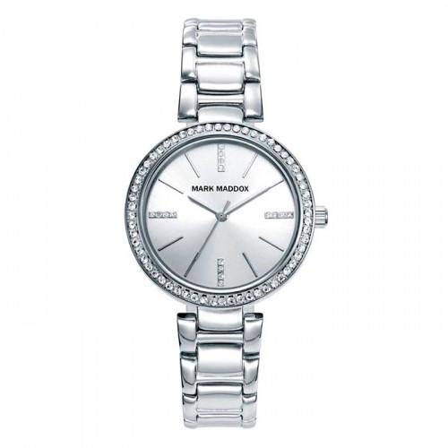 Reloj Mark Maddox Plateado Cristales Brazalete