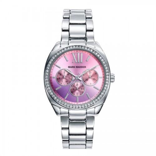 Reloj Mark Maddox Plateado Lila Cristales Brazalete