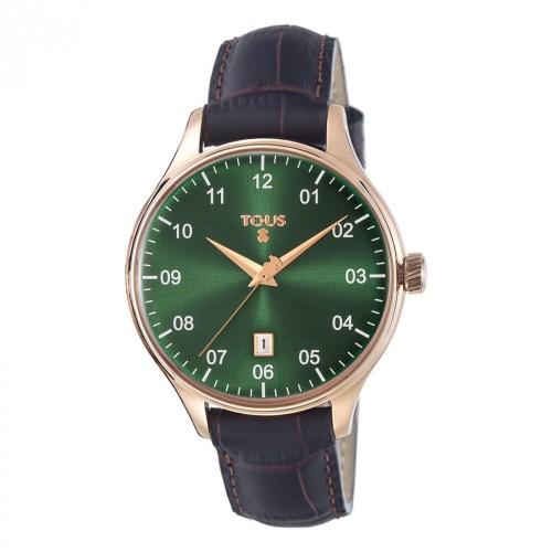 Reloj Tous Dorado Verde Correa Marrón 1920