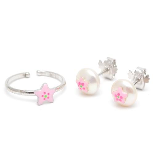 Conjunto Pendientes y Sortija Plata Perla Estrella Rosa
