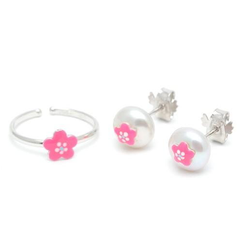 Conjunto Pendientes y Sortija Plata Perla Flor Rosa