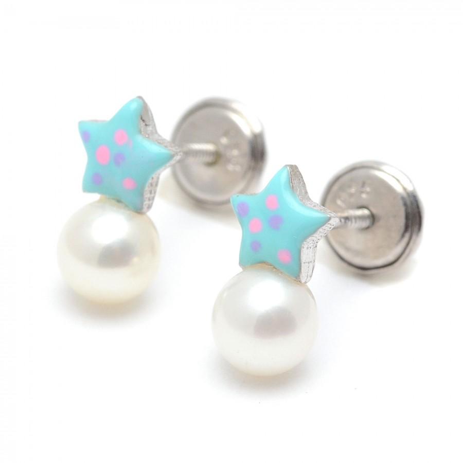 Pendientes Plata Perla Estrella Azul