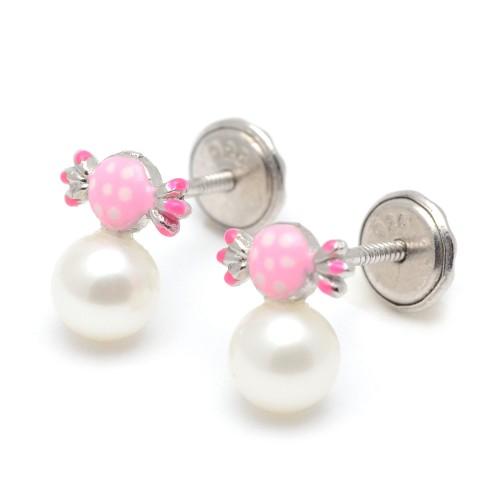 Pendientes Plata Perla Caramelo Rosa