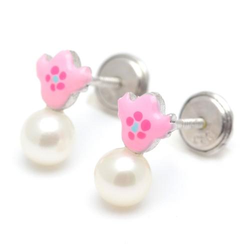 Pendientes Plata Perla Corazón Lila