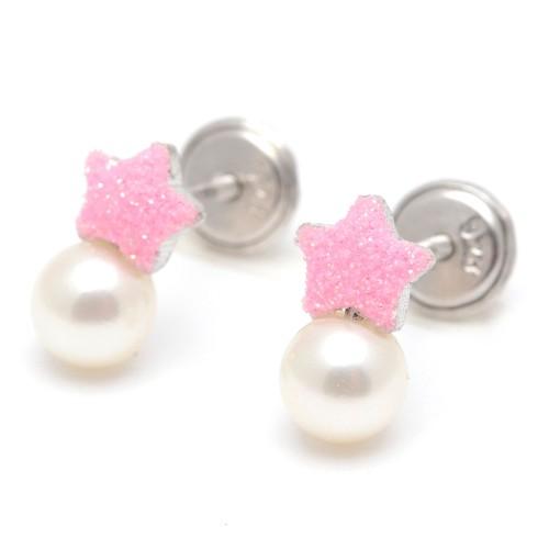 Pendientes Plata Bebé Niña Infantil Rosca Perla Estrella Rosa