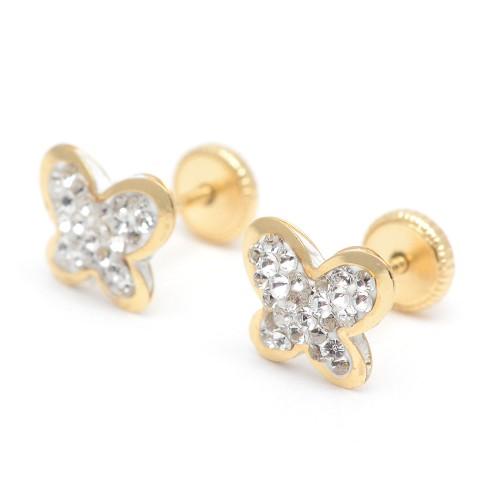 Pendientes Oro Mariposa Cristales