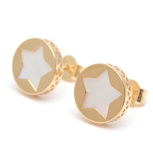 Pendientes Oro Círculo Estrella Nácar