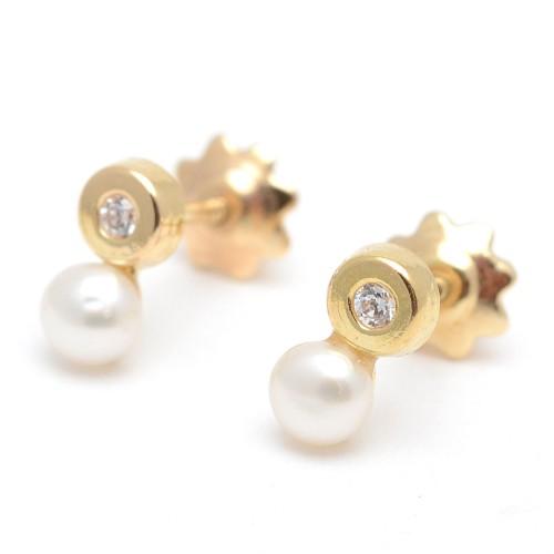 Pendientes Oro Perla Círculo Circonita