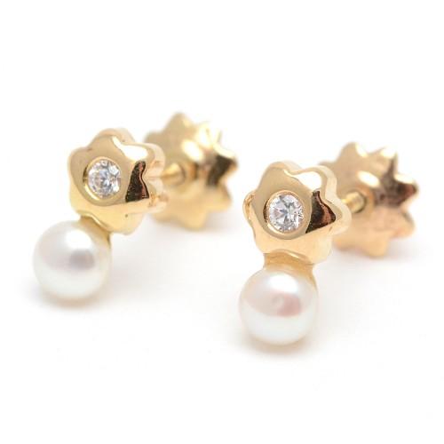 Pendientes Oro Perla Estrella Circonita