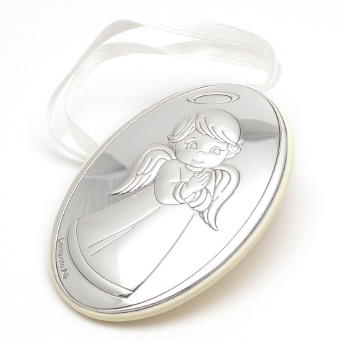 Medalla Cuna Plata Ángel de la Guarda Blanca