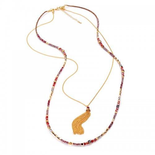 Collar Viceroy Largo Dorado Cristales Rojo y Gris