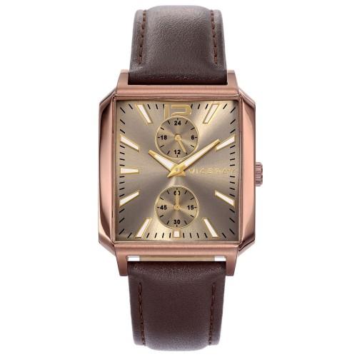 Reloj Viceroy Cuadrado Dorado Correa Marrón