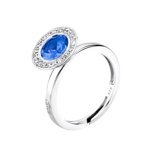 Sortija Plata Lotus Círculo Azul
