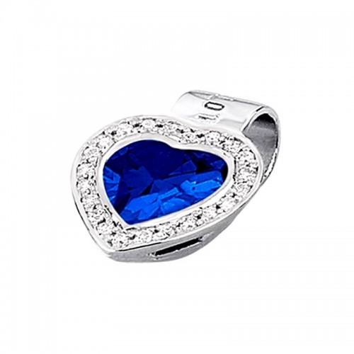 Colgante Plata Lotus Corazón Azul