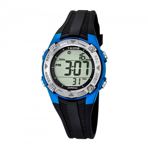 Reloj Calypso Digital Azul Caucho Negro