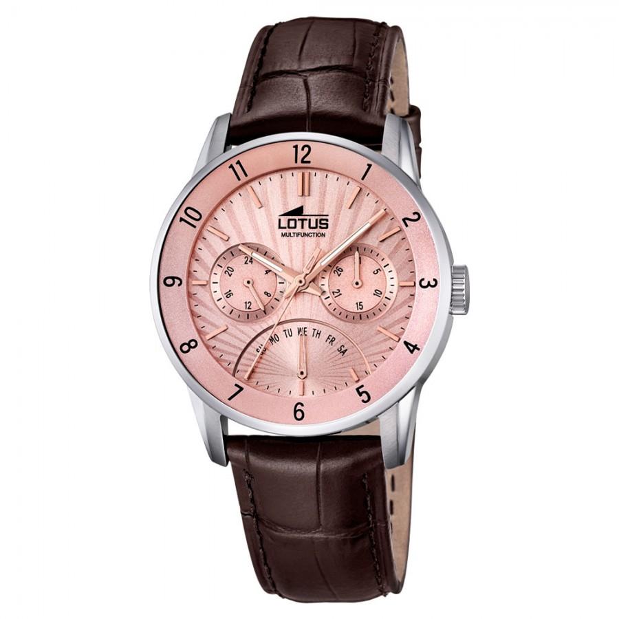 0b1e995a90e0 Reloj para chico Lotus de acero con correa marrón