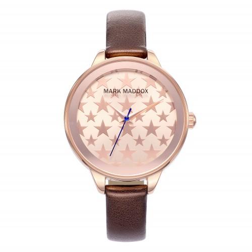Reloj Mark Maddox Dorado Cristales Correa Marrón