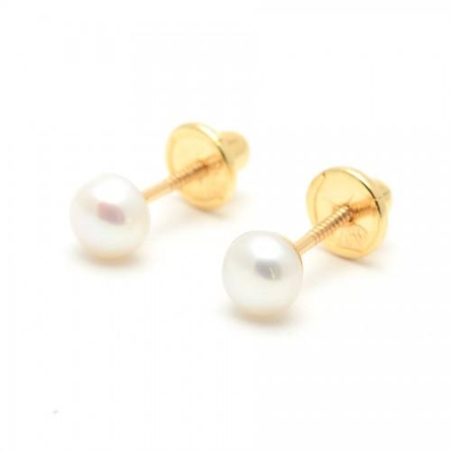 Pendientes Oro Niña Perla