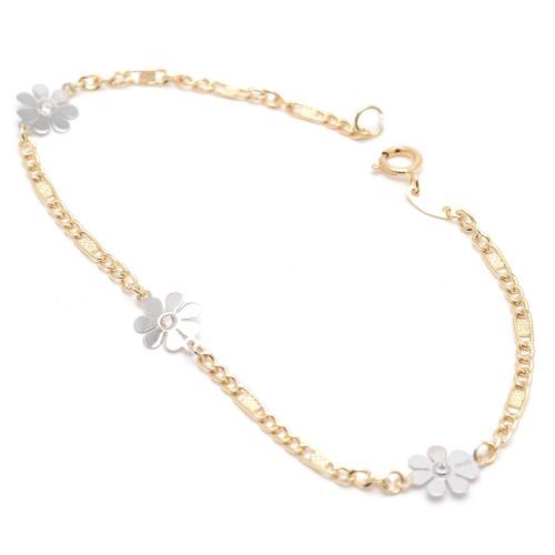 Pulsera Oro Niña Flores Oro Blanco