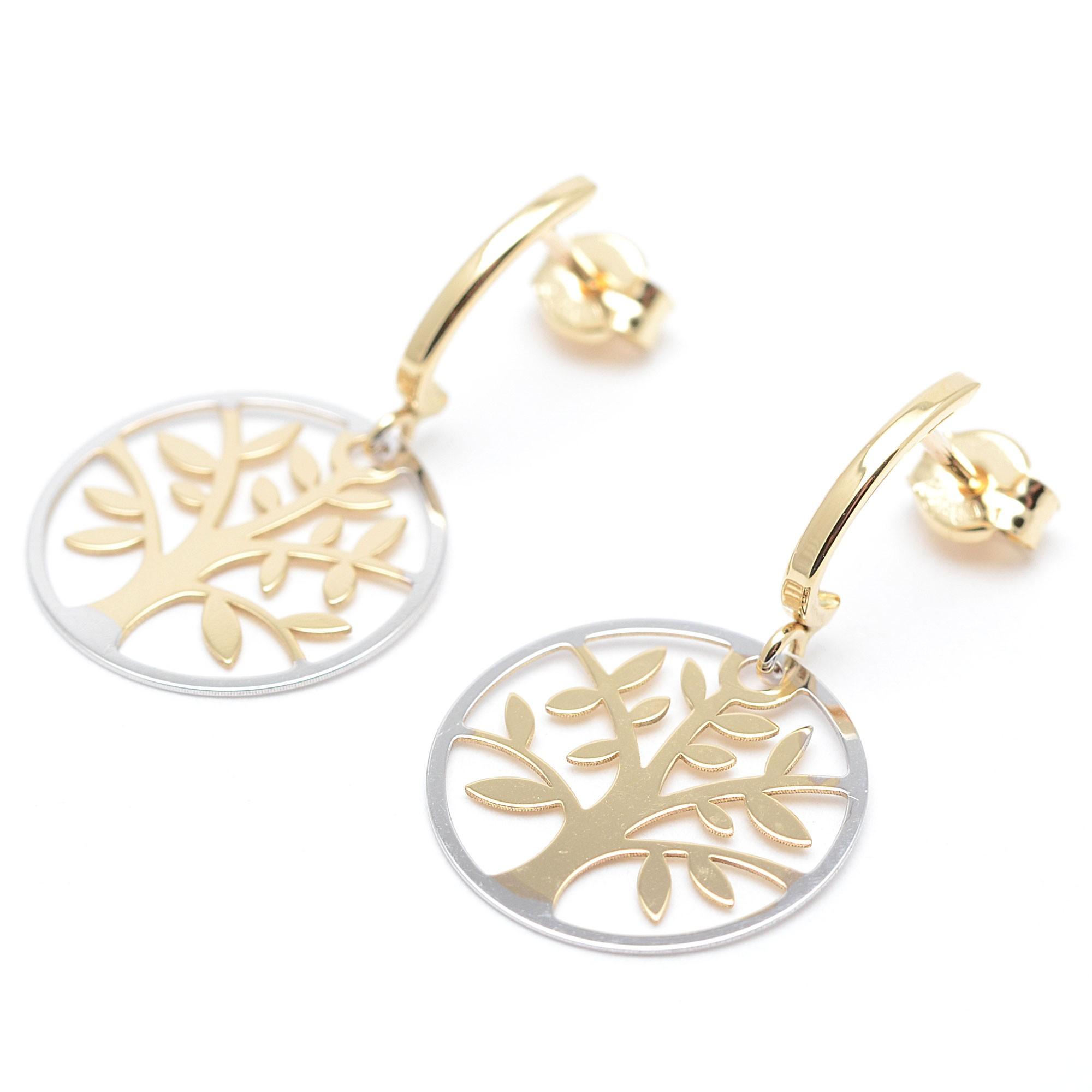 Pendiente aretes pendientes árbol de la vida en el oro o plata