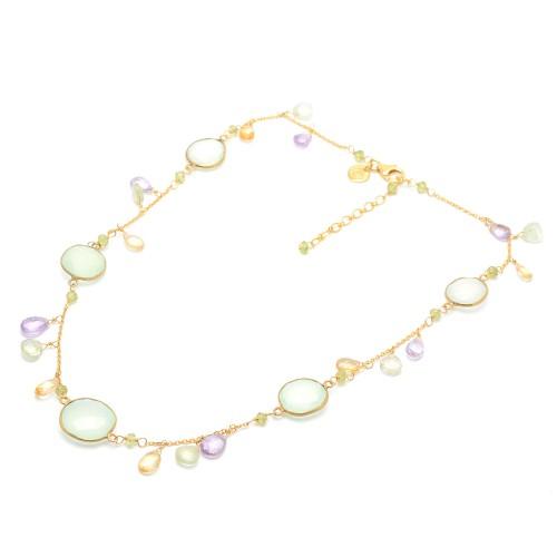 Collar Gargantilla Dorado Cristales Verdes