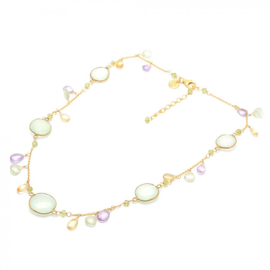 c34c00aa4767 Collar tipo gargantilla dorado con cristales verdes