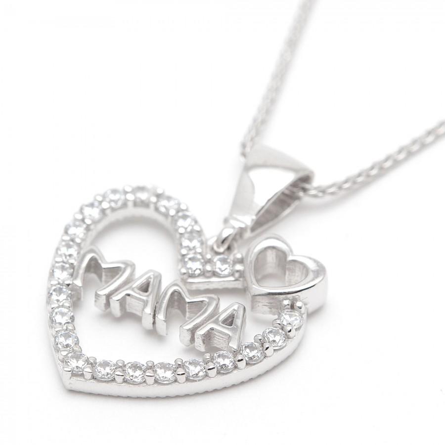 753ae44fb46a Colgante de oro blanco Mamá con forma de corazón con circonitas