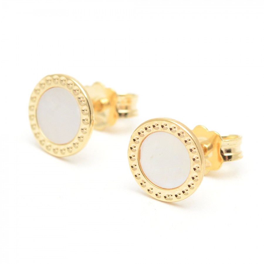 8f5b6c955bd7 Pendientes de oro redondos de nácar blanco