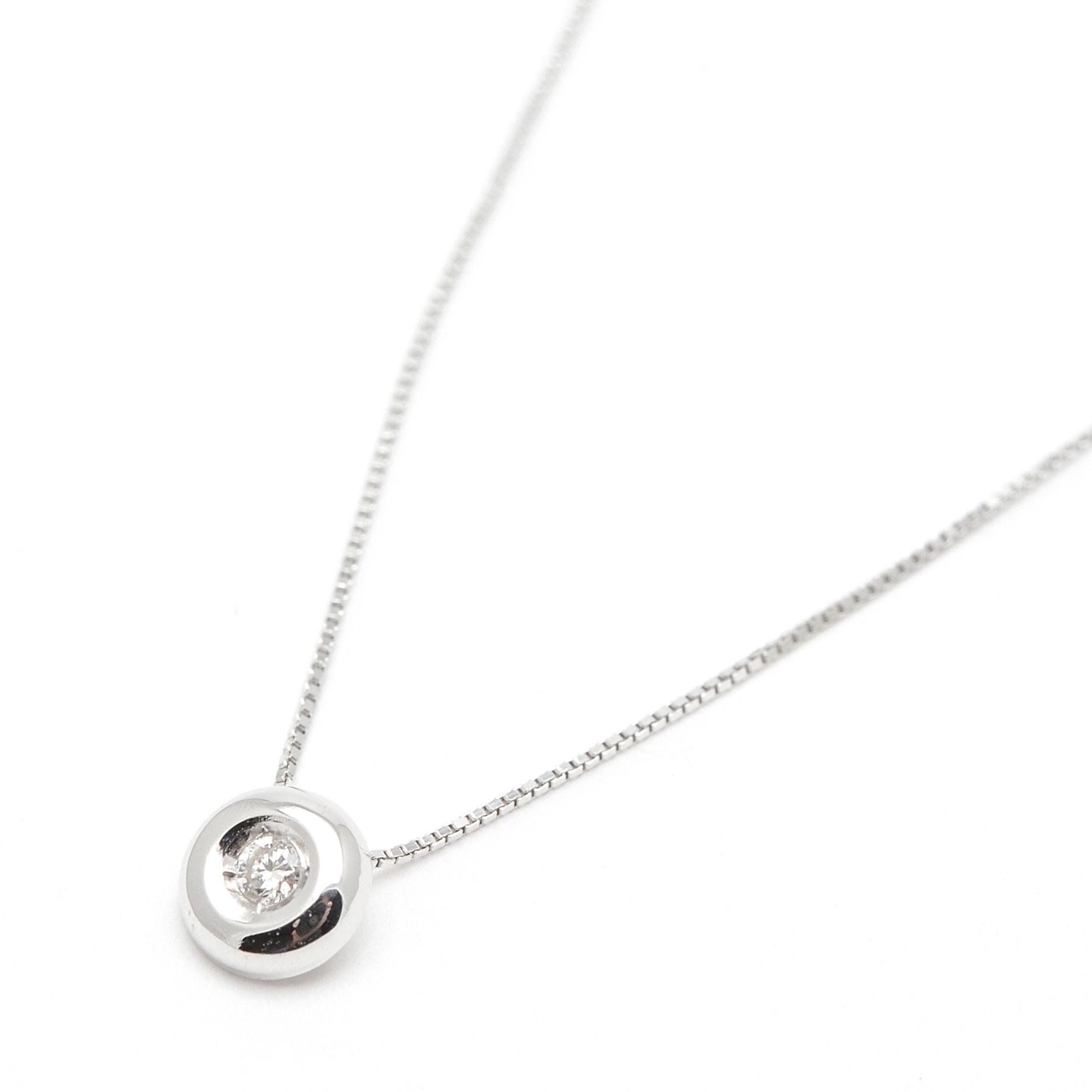 178b6029f3da Gargantilla de oro blanco de círculo con diamante