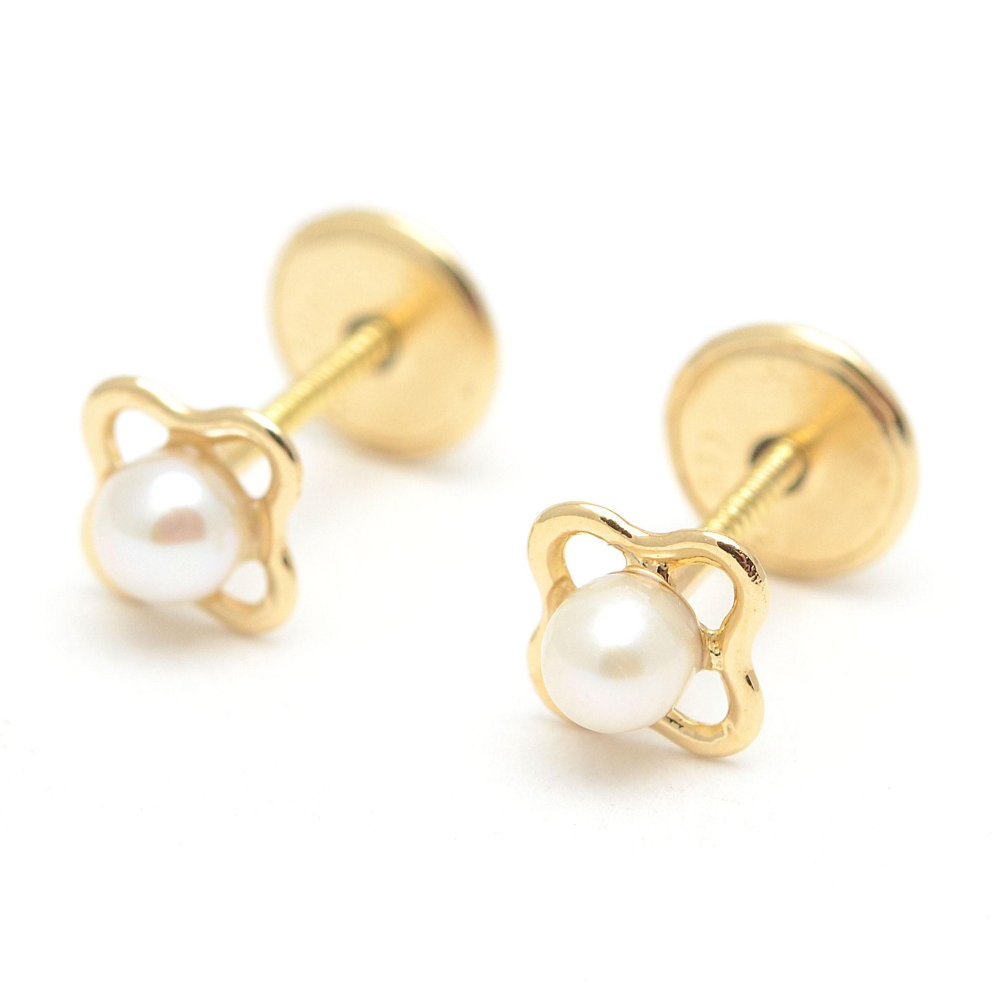 Pendientes oro beb ni a infantil flores perlas - Fotos de pendientes ...