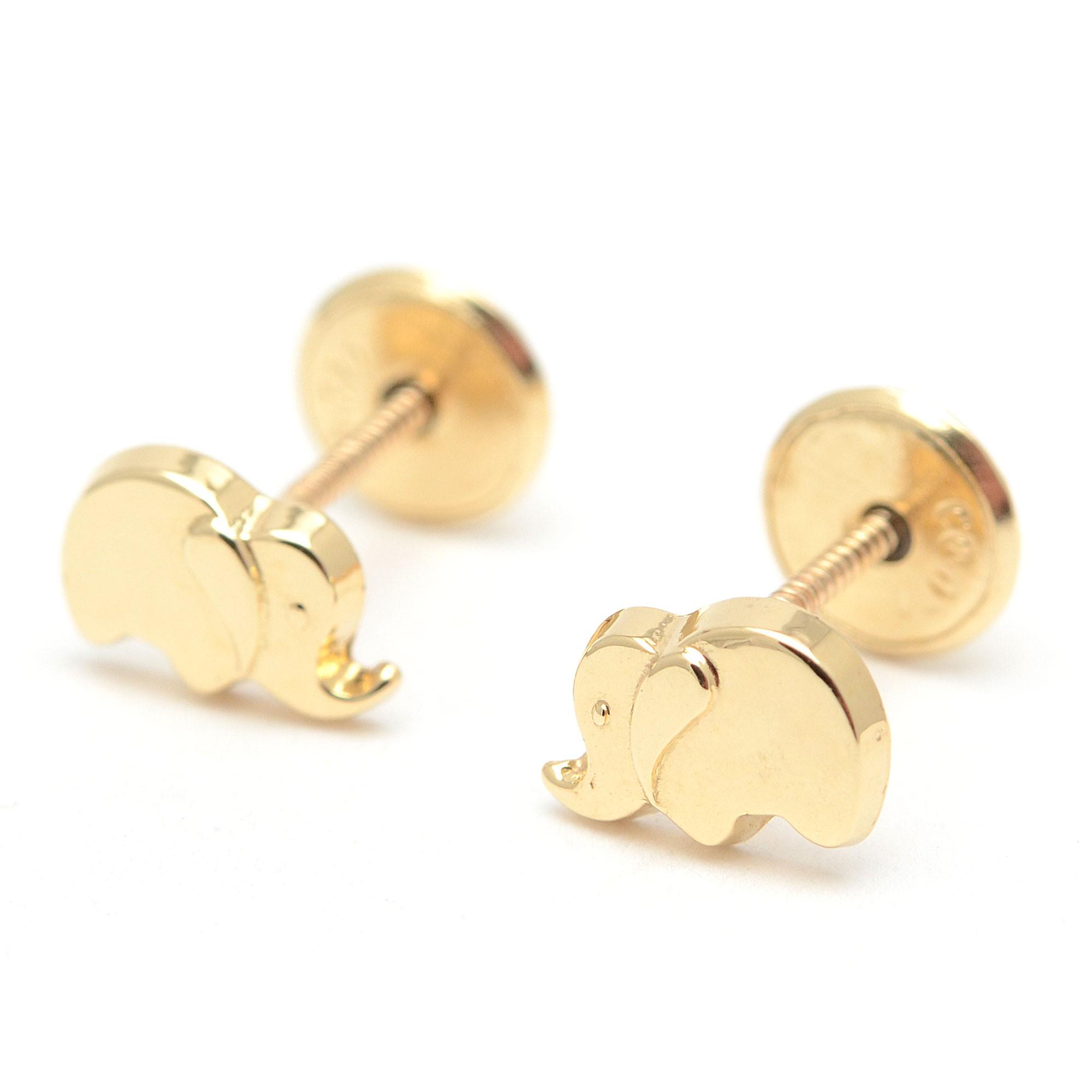 minorista online 559db 4bb57 Pendientes Oro Bebé Niña Infantil Elefantes