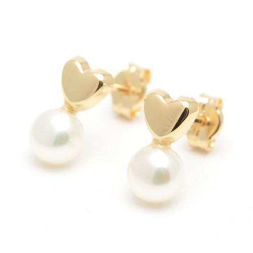 Pendientes Oro Niña Círculo Perla