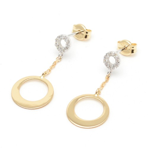 Pendientes Oro Aros Diamantados