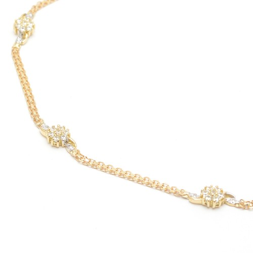 Pulsera Oro Niña Rosetones Circonitas